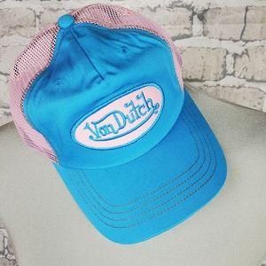 Y2K Von Dutch Trucker Hat Snapback Blue Pink